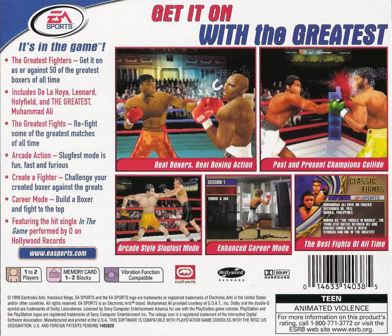 Knockout Kings 2000 PlayStation Back Cover