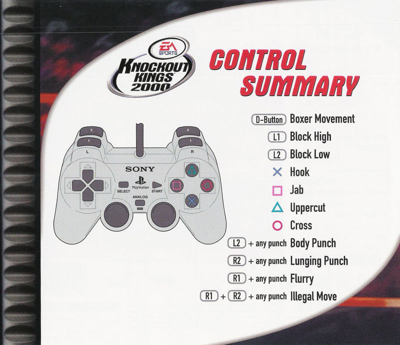 Knockout Kings 2000 PlayStation Inside Cover