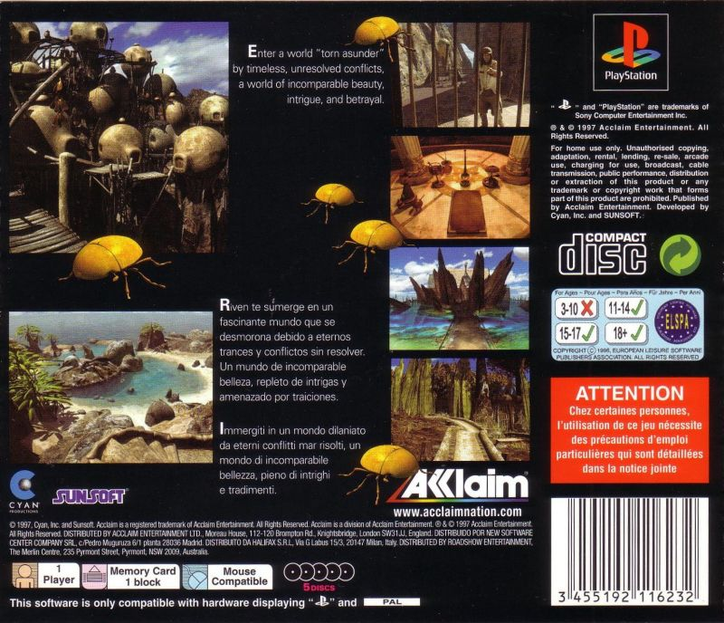 Riven: The Sequel to Myst PlayStation Back Cover