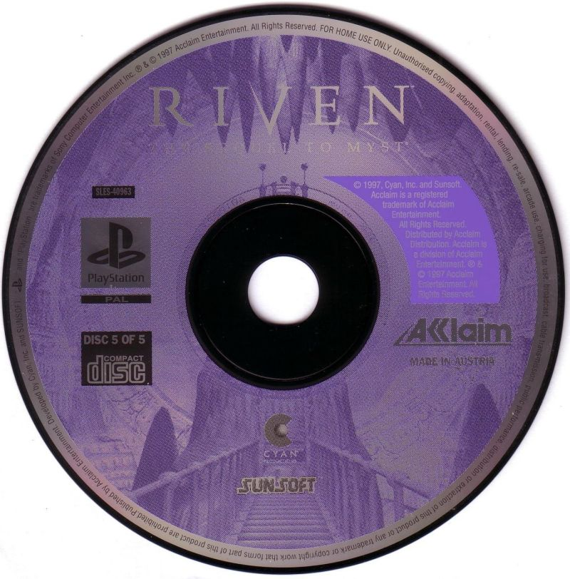 Riven: The Sequel to Myst PlayStation Media Disc 5