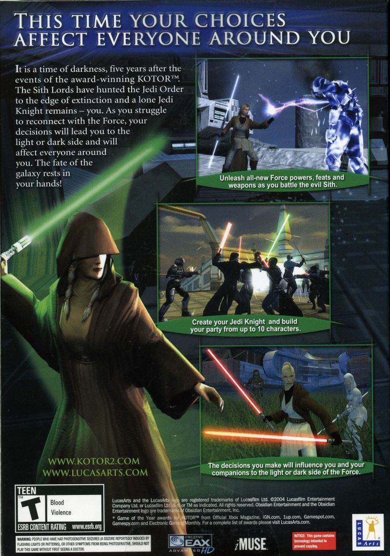 Star Wars: Knights of the Old Republic II - The Sith Lords Windows Back Cover