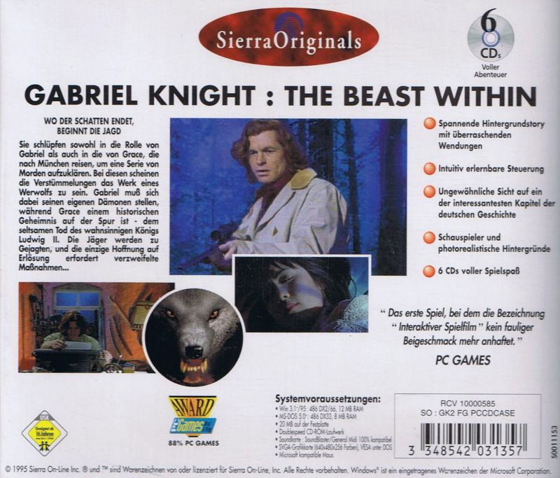 Gabriel Knight Mysteries: Limited Edition DOS Other The Beast Within Jewel Case - Back