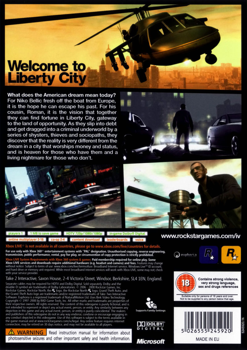Xbox 360 Game Cover Back Grand Theft Auto IV (2...