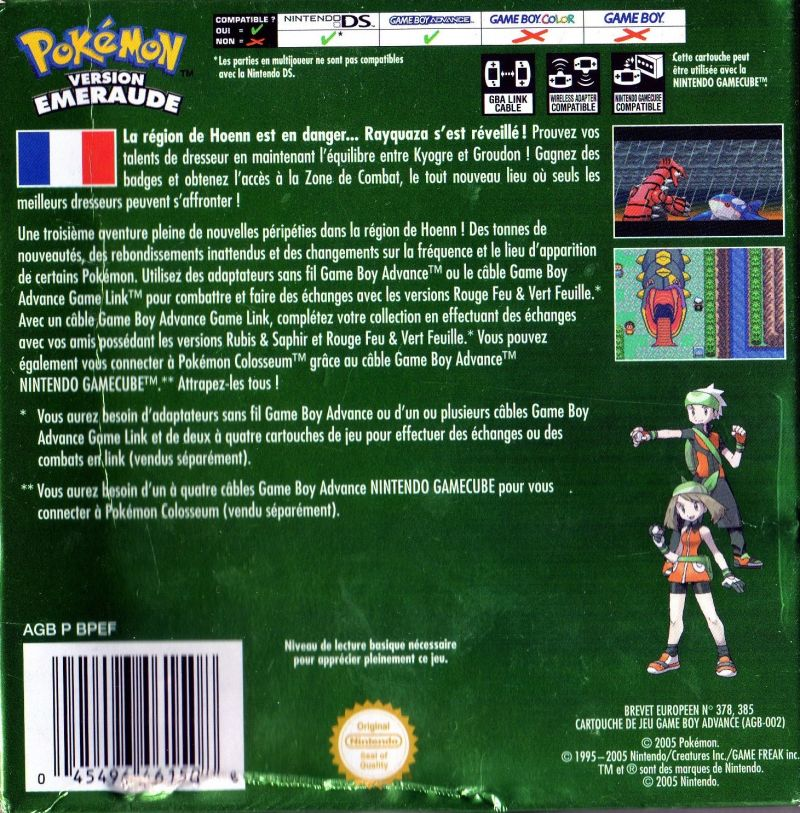 Pokémon Emerald Version Game Boy Advance Back Cover