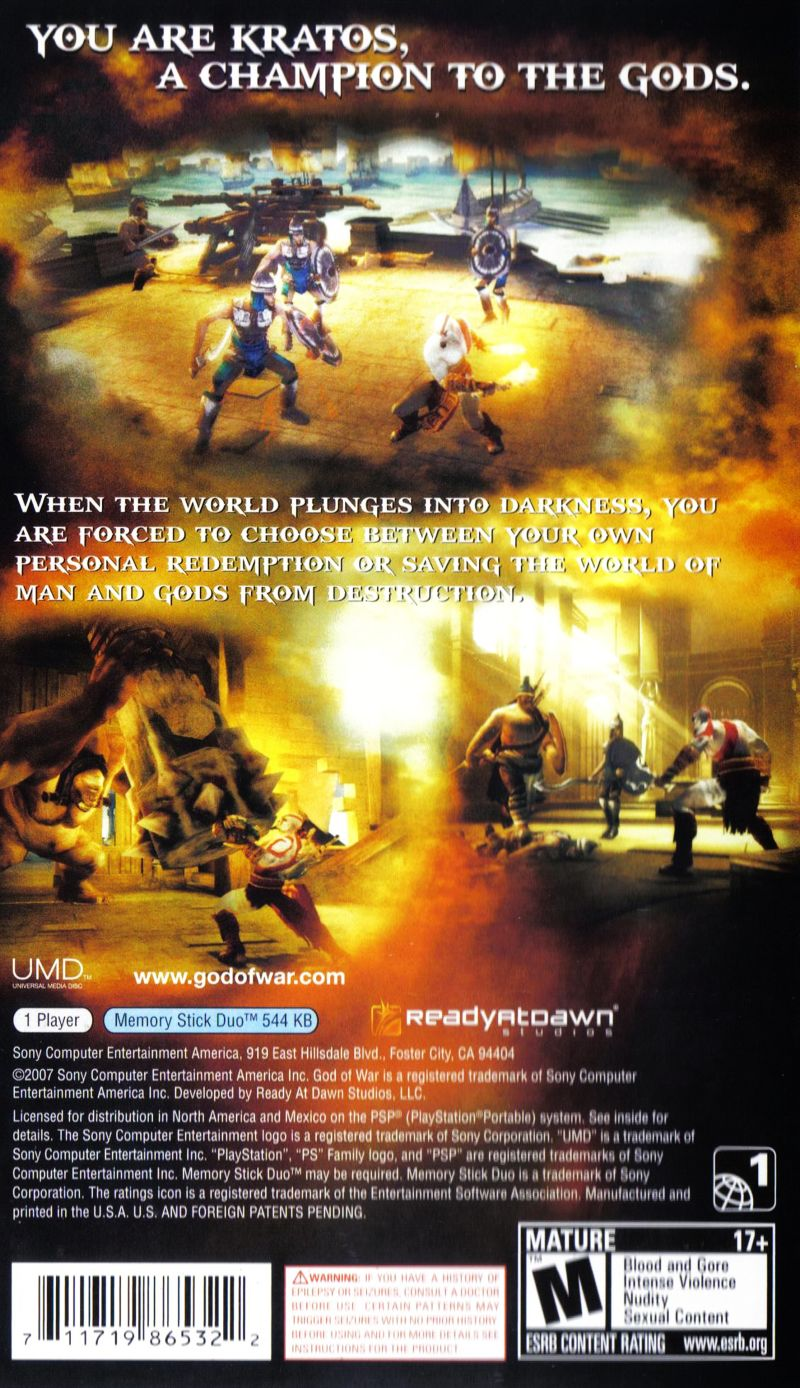 God of War: Chains of Olympus PSP Back Cover