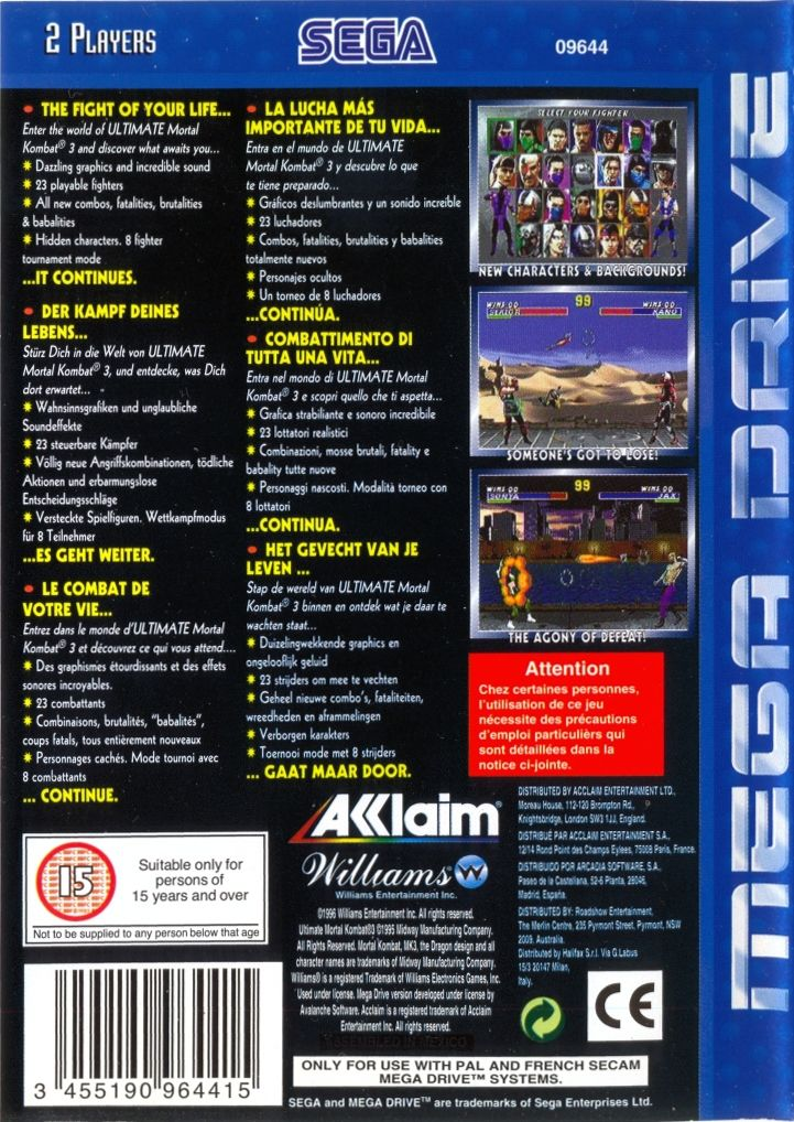 Ultimate Mortal Kombat 3 Genesis Back Cover