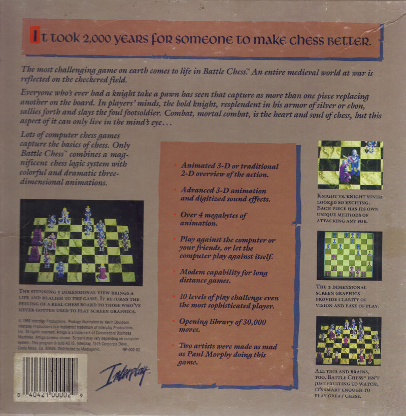 Battle Chess DOS Back Cover
