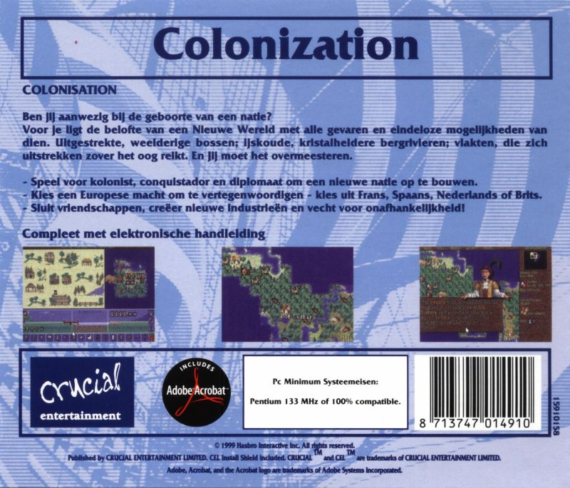 Sid Meier's Colonization DOS Back Cover