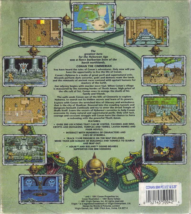 Conan: The Cimmerian DOS Back Cover