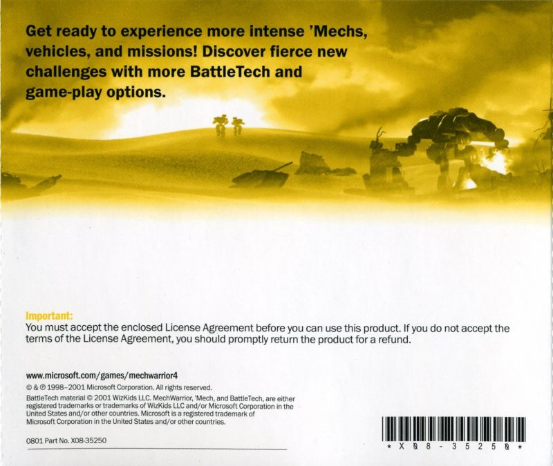 MechWarrior 4: Black Knight Windows Other Jewel Case - Back
