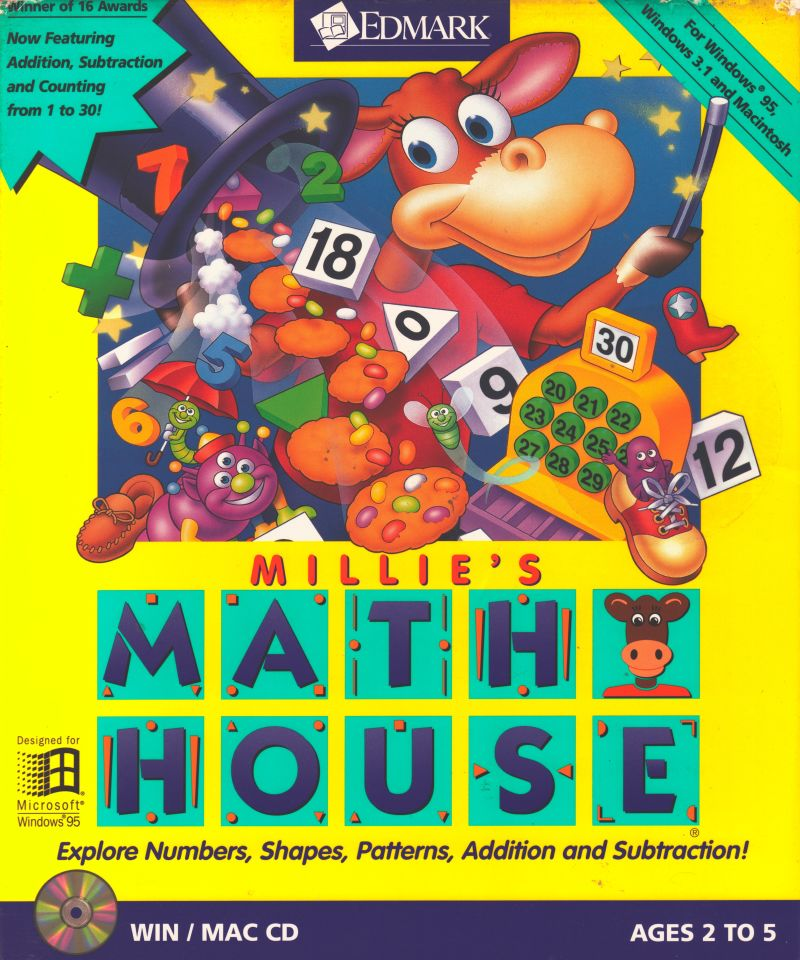 Millie 39 s math house 1992 macintosh box cover art mobygames for Classic house 1992
