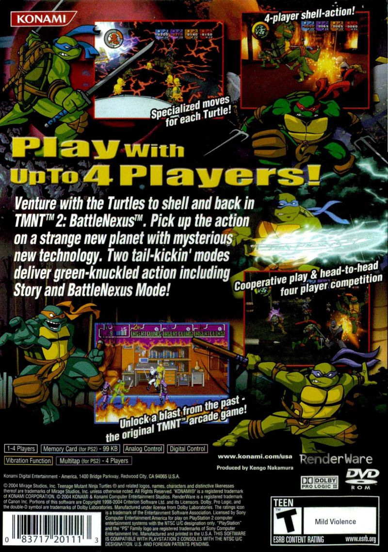 Teenage Mutant Ninja Turtles 2: Battle Nexus PlayStation 2 Back Cover