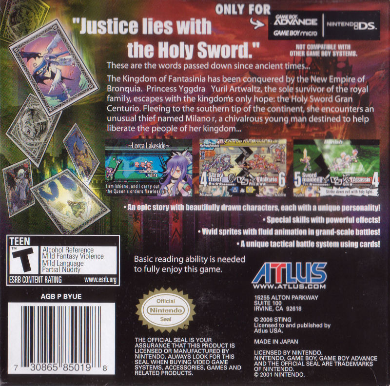 Yggdra Union: We'll Never Fight Alone Game Boy Advance Back Cover