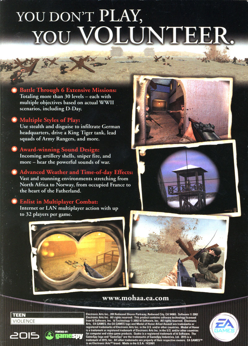 Medal of Honor: Allied Assault Windows Back Cover
