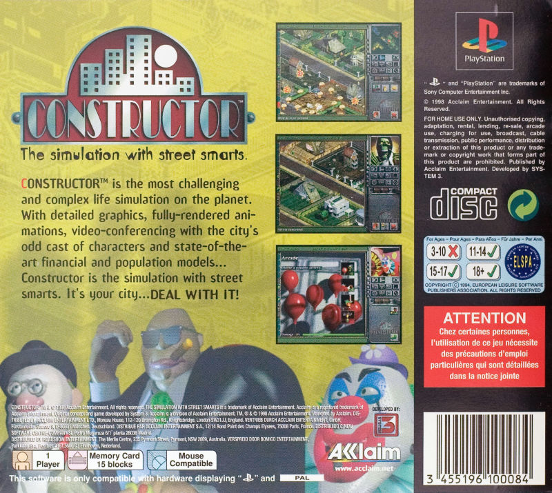 Constructor PlayStation Back Cover