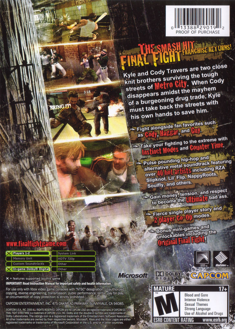 "Final Fight: ""Streetwise"" Xbox Back Cover"