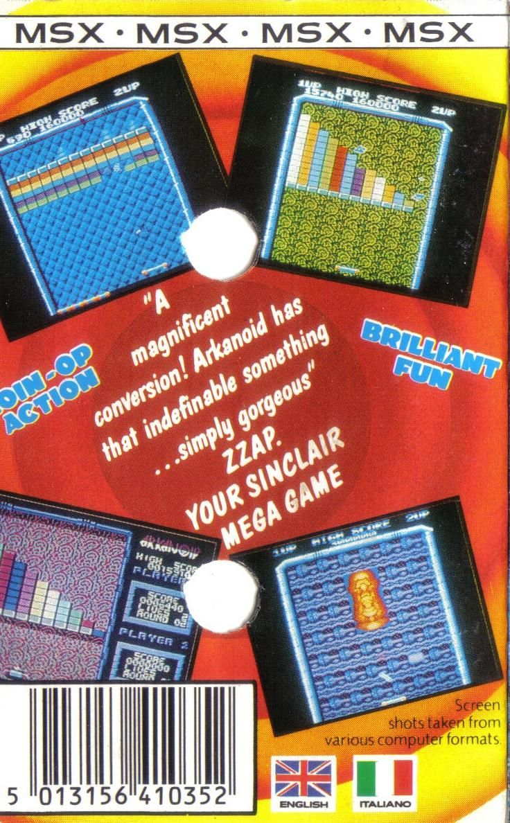 Arkanoid MSX Back Cover