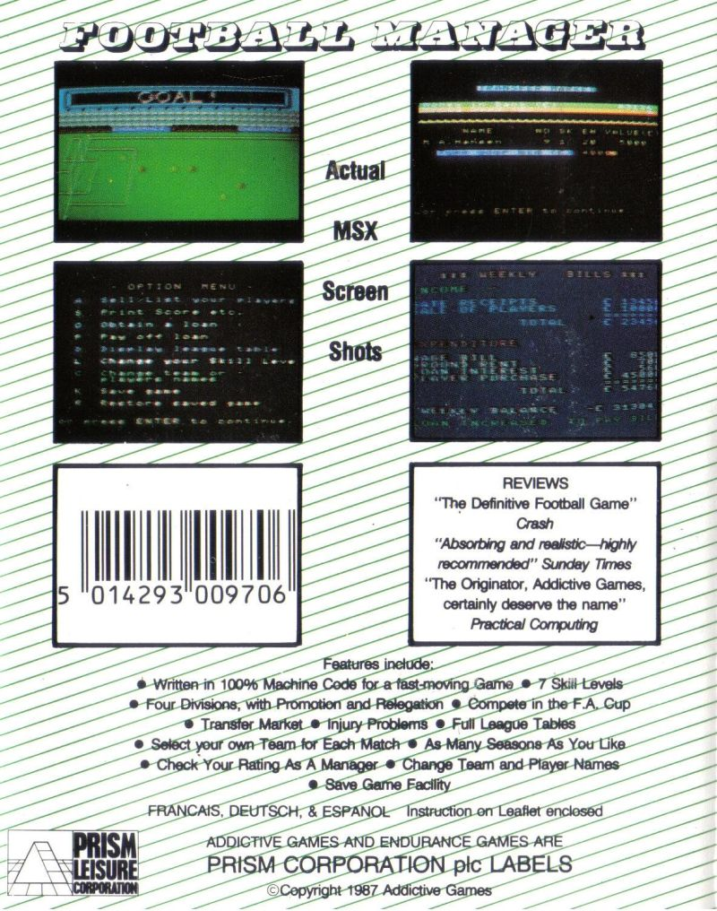 Football Manager MSX Back Cover
