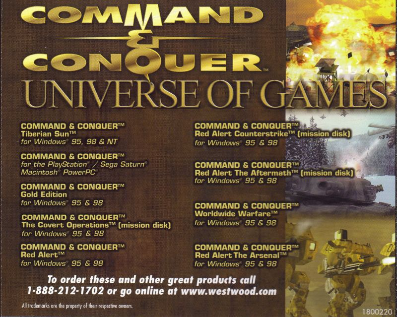 Command & Conquer: Tiberian Sun Windows Other Jewel Case - Back