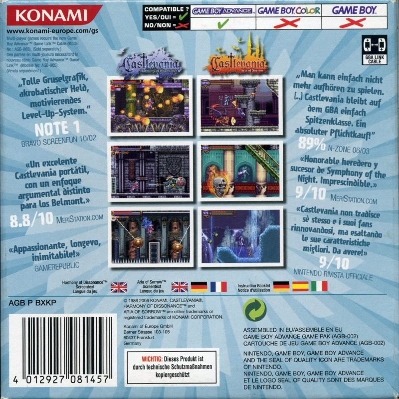 Castlevania: Double Pack Game Boy Advance Back Cover