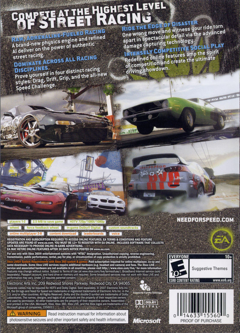 Need for Speed: ProStreet Xbox 360 Back Cover