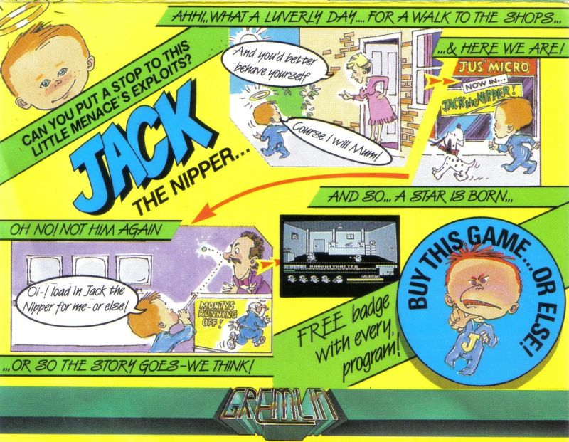 Jack the Nipper MSX Front Cover rotated 90 degrees