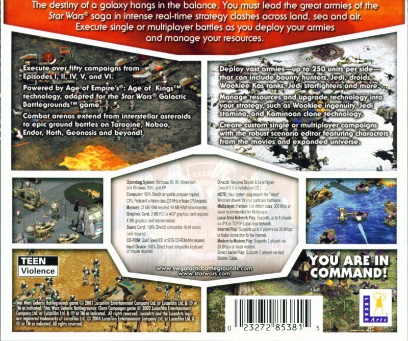 Star Wars: Galactic Battlegrounds - Saga Windows Back Cover