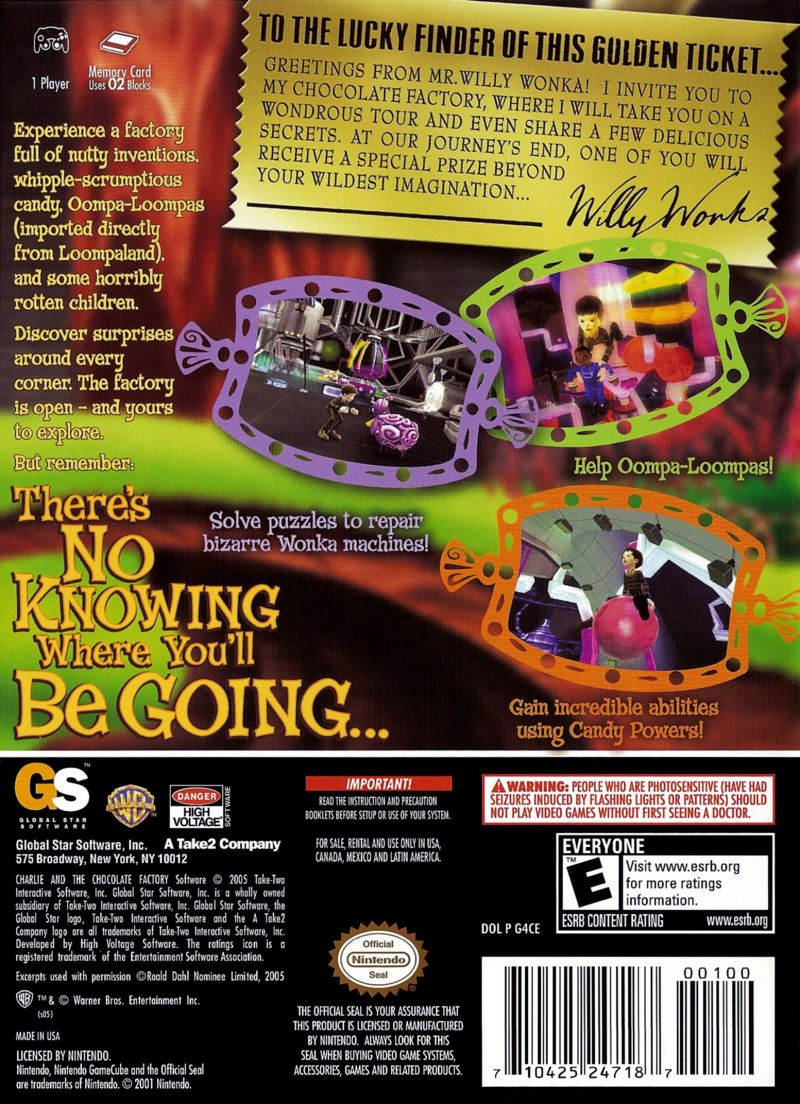 Charlie and the Chocolate Factory GameCube Back Cover