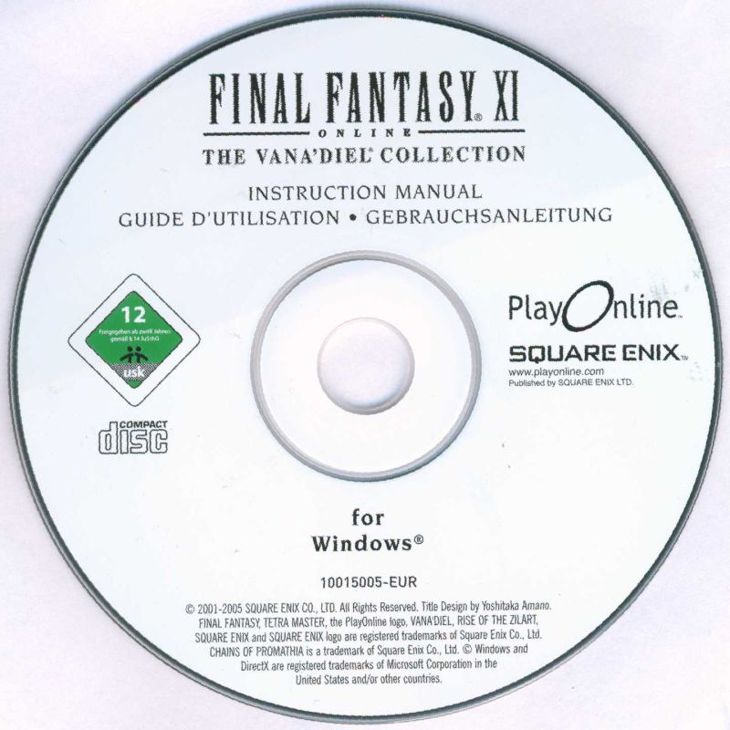 Final Fantasy XI Online: The Vana'Diel Collection Windows Media Instruction manual disc