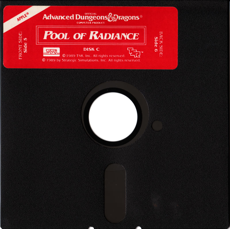 Pool of Radiance Apple II Media Disk C - Side 5 and 6