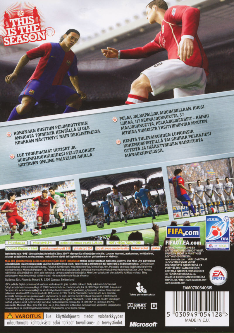 FIFA Soccer 07 Xbox 360 Back Cover