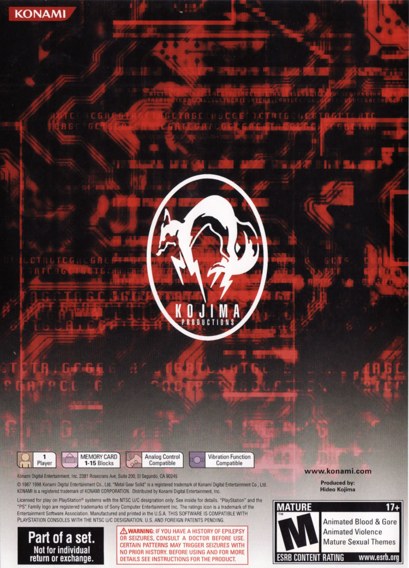 Metal Gear Solid: The Essential Collection PlayStation Other Metal Gear Solid - Keep Case - Back