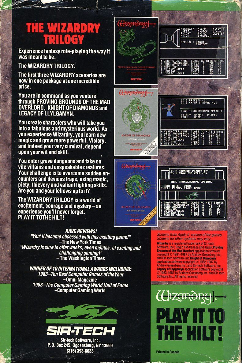 The Wizardry Trilogy: Scenarios I, II & III Commodore 64 Back Cover