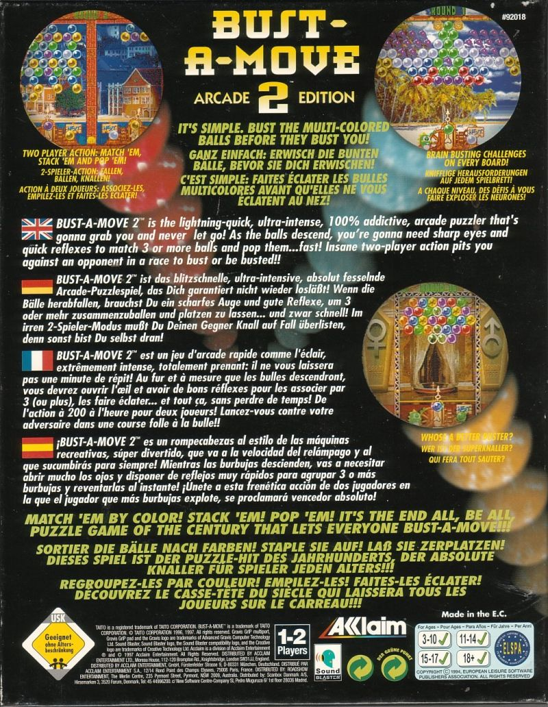 Bust-A-Move 2: Arcade Edition DOS Back Cover