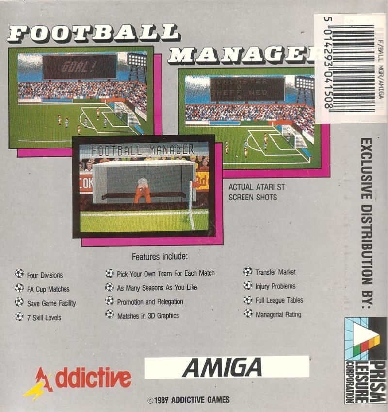 Football Manager Amiga Back Cover