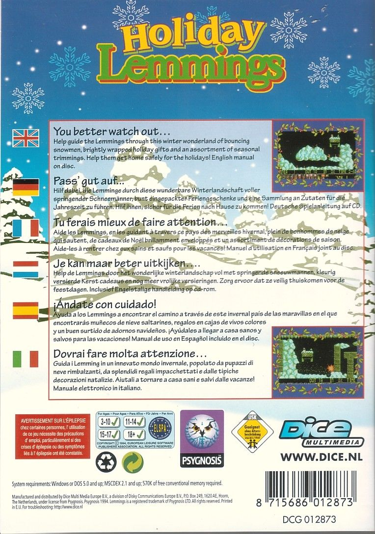 Holiday Lemmings DOS Back Cover