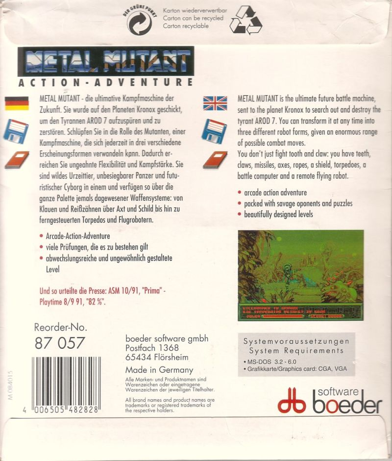 Metal Mutant DOS Back Cover