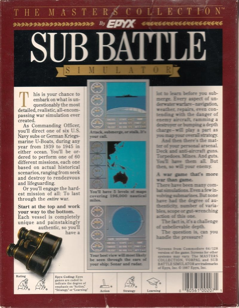 Sub Battle Simulator Commodore 64 Back Cover