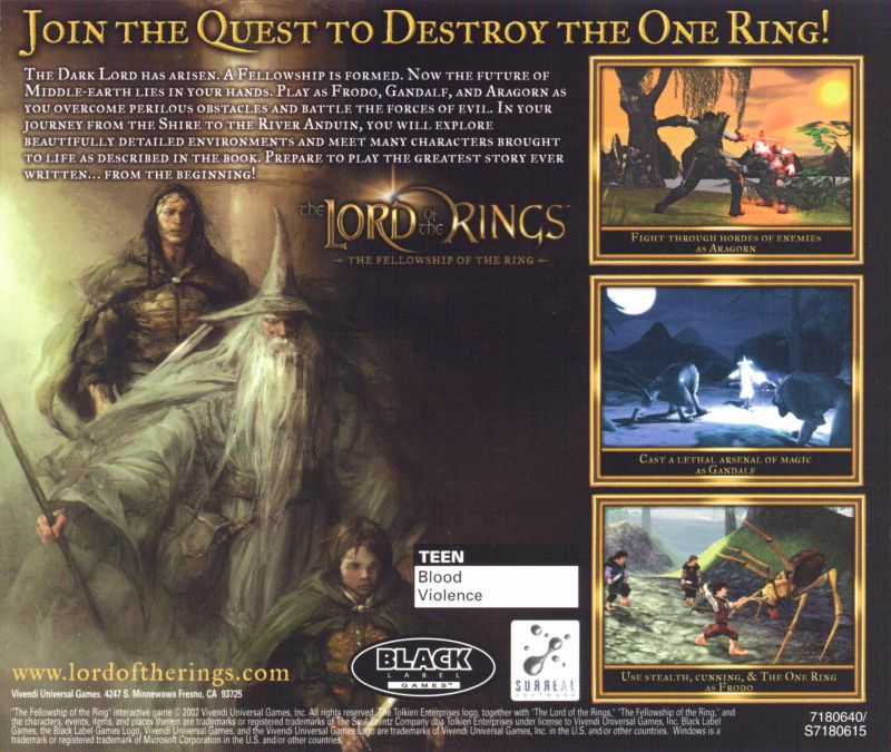 The Lord of the Rings: The Fellowship of the Ring Windows Other Jewel Case - Back