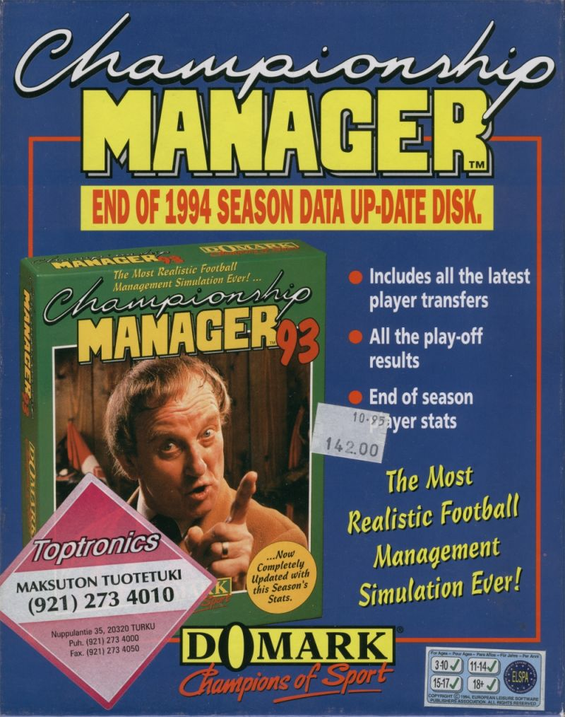 Championship Manager: End of 1994 Season Data Up-date Disk DOS Front Cover