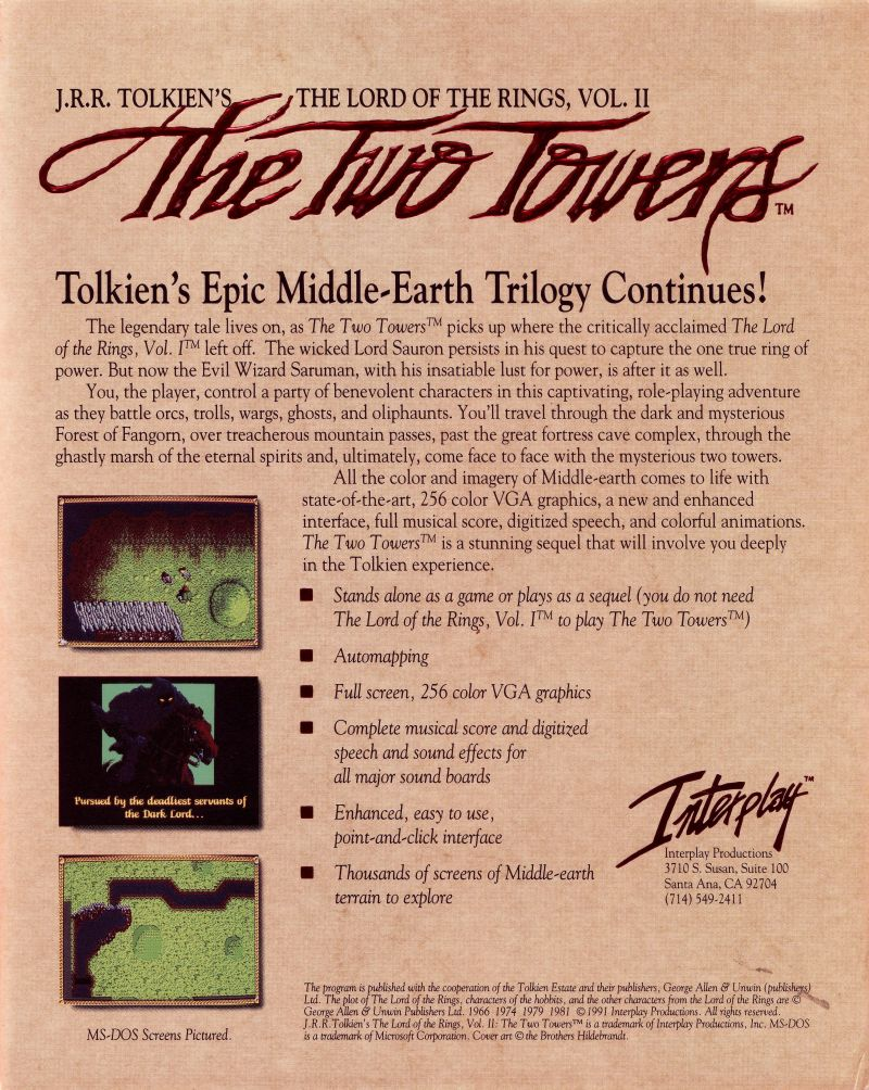 J.R.R. Tolkien's The Lord of the Rings, Vol. II: The Two Towers DOS Back Cover