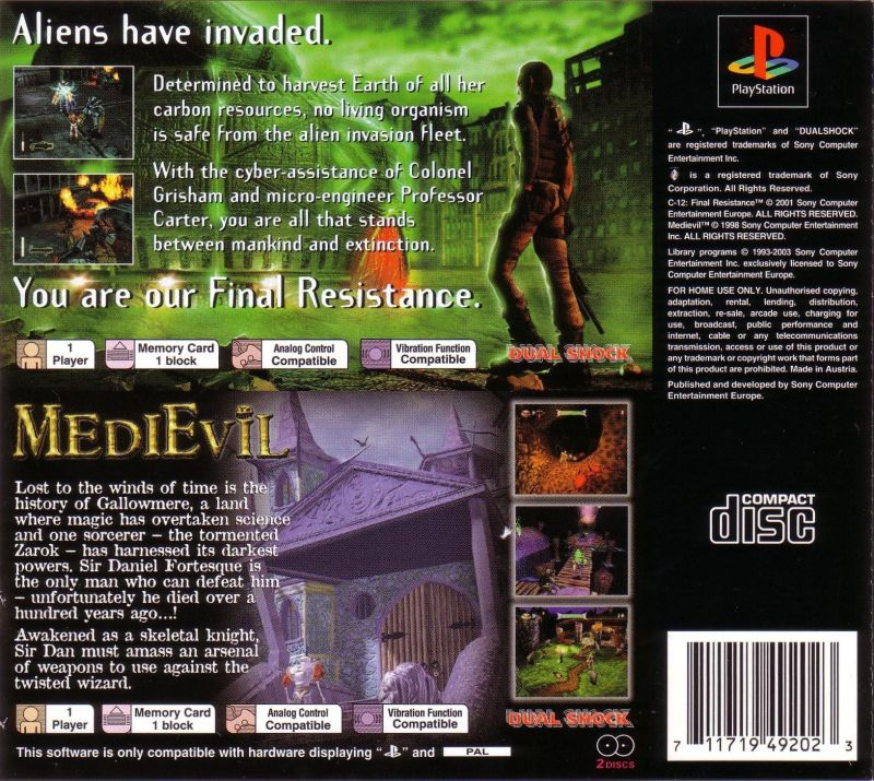MediEvil / C-12: Final Resistance PlayStation Back Cover