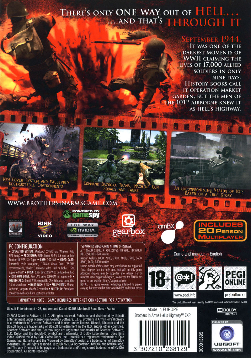 Brothers in Arms: Hell's Highway (Limited Edition) Windows Other Keep Case - Back