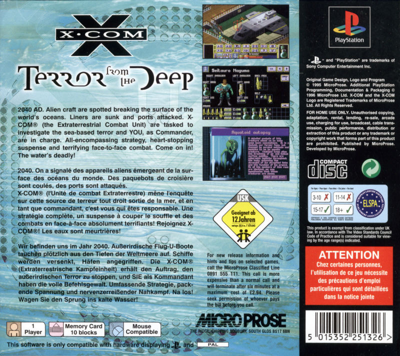 X-COM: Terror from the Deep PlayStation Back Cover