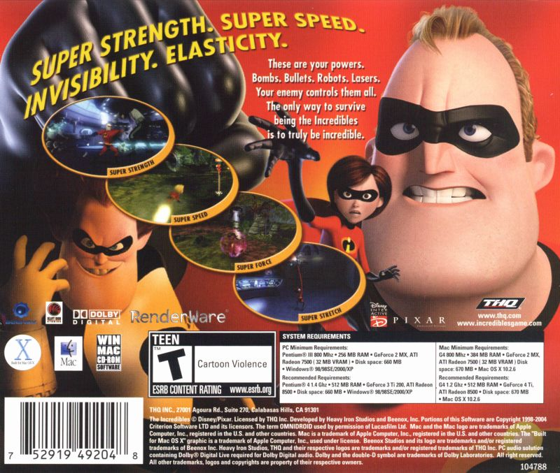The Incredibles Macintosh Other Jewel Case - Back