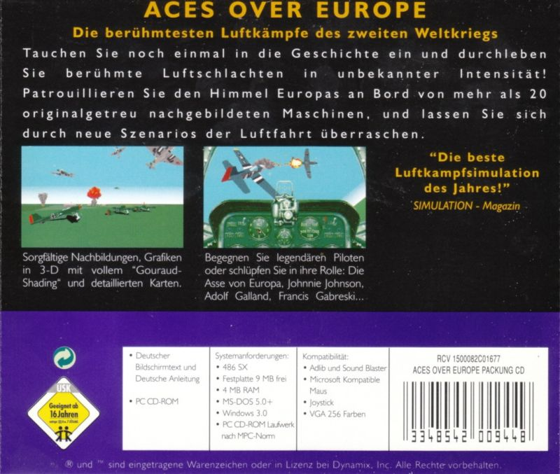 Aces Over Europe DOS Other Jewel Case - Back