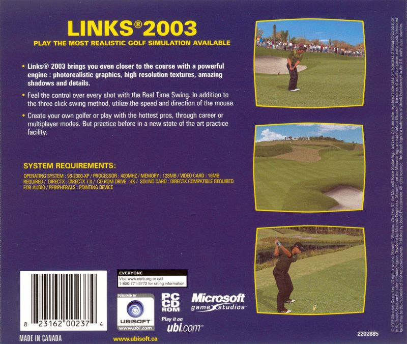 Links 2003 Windows Back Cover