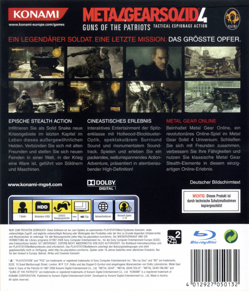 Metal Gear Solid 4: Guns of the Patriots PlayStation 3 Other Keep Case - Back