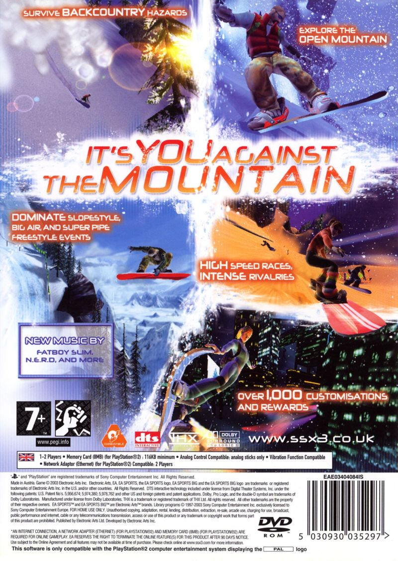 SSX 3 PlayStation 2 Back Cover