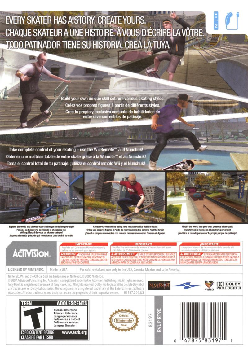 Tony Hawk's Proving Ground Wii Back Cover